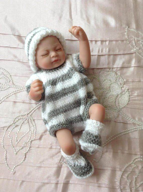 Hand knitted dolls clothes to fit 9/10 baby boy by HandKnittedbyme