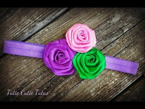 how to make a ribbon rose for your hair bows - YouTube