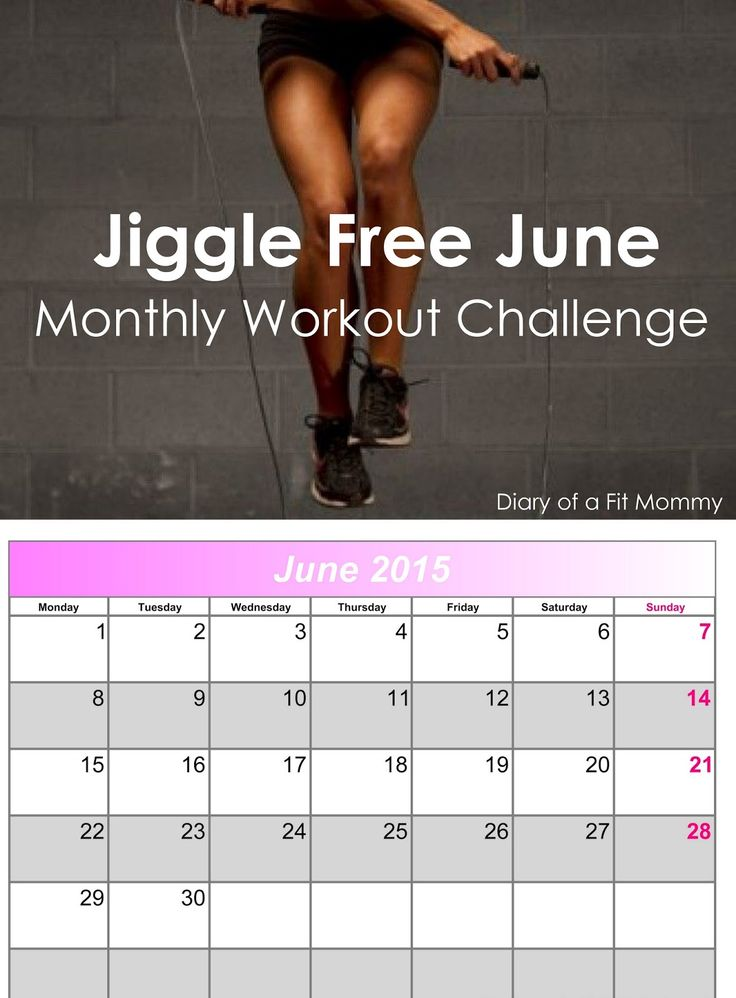 Jiggle Free June Monthly Workout Challenge         Moday June 1   5 Jumping Jacks   5 Squat Jumps   5 Lunge Jumps    Tuesday June 2   5 Bur...