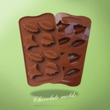 Wholesale high quality / 8 silica leaves chocolate template / cake template(China (Mainland))