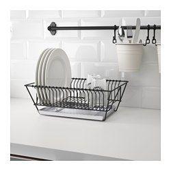 IKEA - FINTORP, Abtropfgestell, Kann an die Wand gehängt oder auf die Spüle gestellt werden.Abnehmbares Tablett für Abtropfwasser.