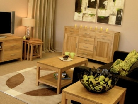 Oak Living Room Furniture with dark couch accent, hmm might consider when its time to buy a new couch.