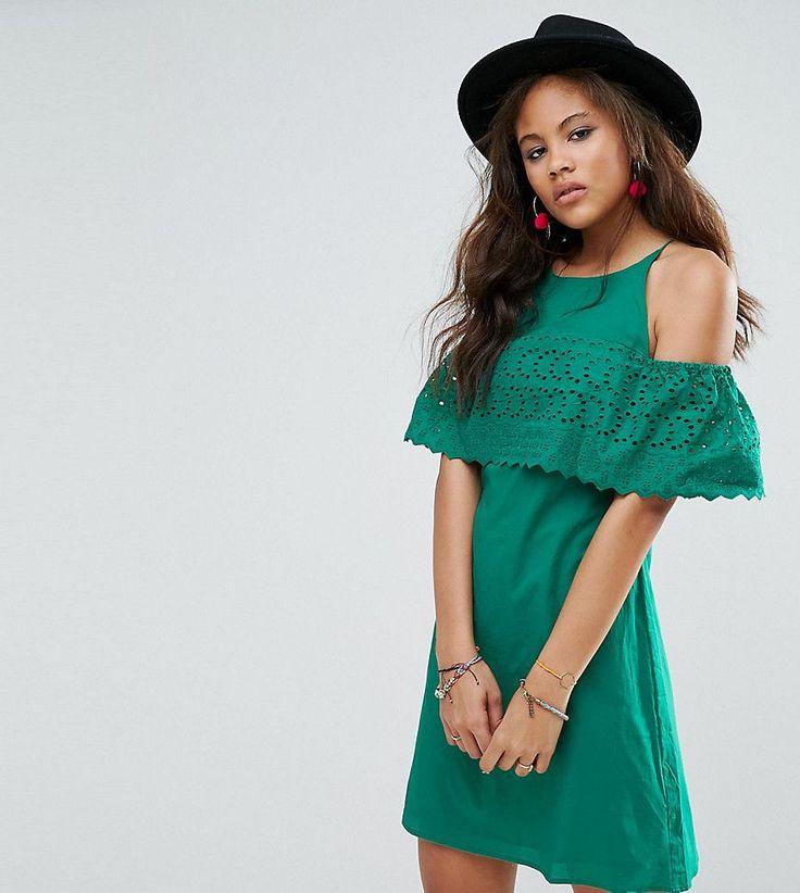 ASOS TALL Broderie Cold Shoulder Sundress - Green