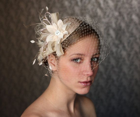 BIRDCAGE VEIL vintage style wedding headdress. by klaxonek on Etsy, $159.00