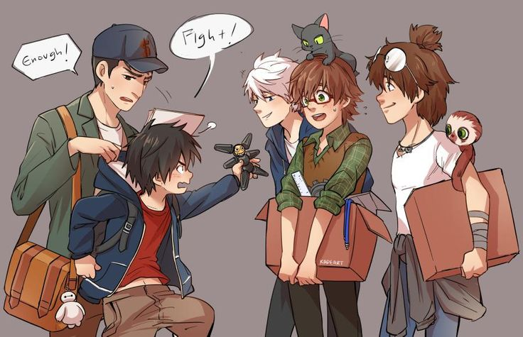 okay, jack frost, guy, and tadashi and hiro, hiccup & toothless cute