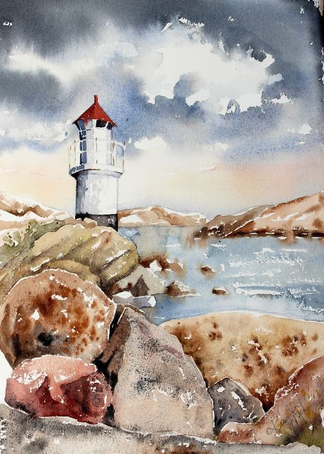 Sunday Watercolor: Lighthouse For more info: I share my creative projects here: https://www.instagram.com/peppermintpatty42/ and on my blog: http://peppermintpattys-papercraft.blogspot.se and on pinterest; https://www.pinterest.se/peppermint42/my-watercolors/