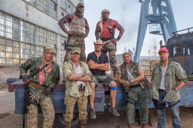 Dolph Lundgren, Arnold Schwarzenegger, Sylvester Stallone, Wesley Snipes, Jason Statham, Terry Crews, Patrick Hughes and Randy Couture in The Expendables 3 (2014)