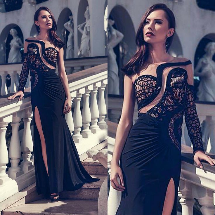 Long evening dress with lace and skin color effect