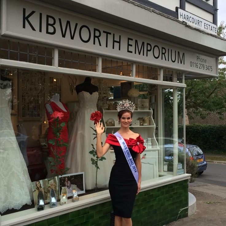 Miss England outside bridal shop in Leicester.