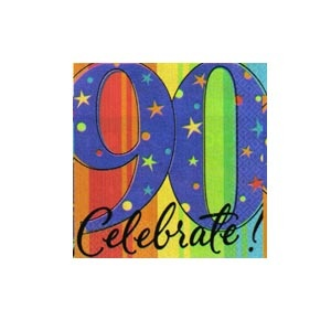 """90th"" Ultra Beverage Napkins (A Year to Celebrate) 16/pkg"