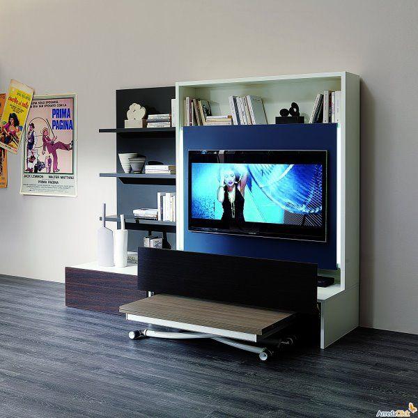 Soluzioni salvaspazio per il soggiorno - parete attrezzata con tavolo integrato Smart Living