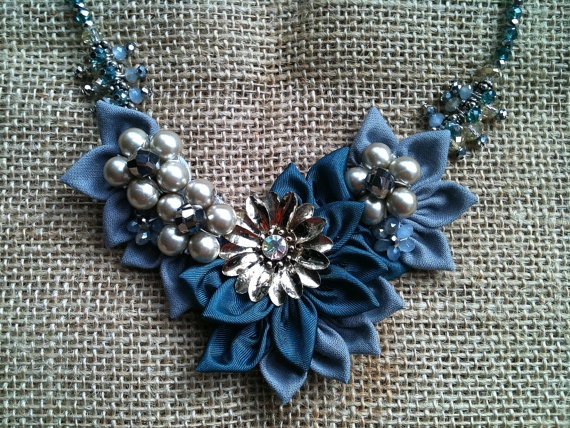 Teal and Gray Fabric Flower Necklace with by JessicaHenryJewelry, $70.00