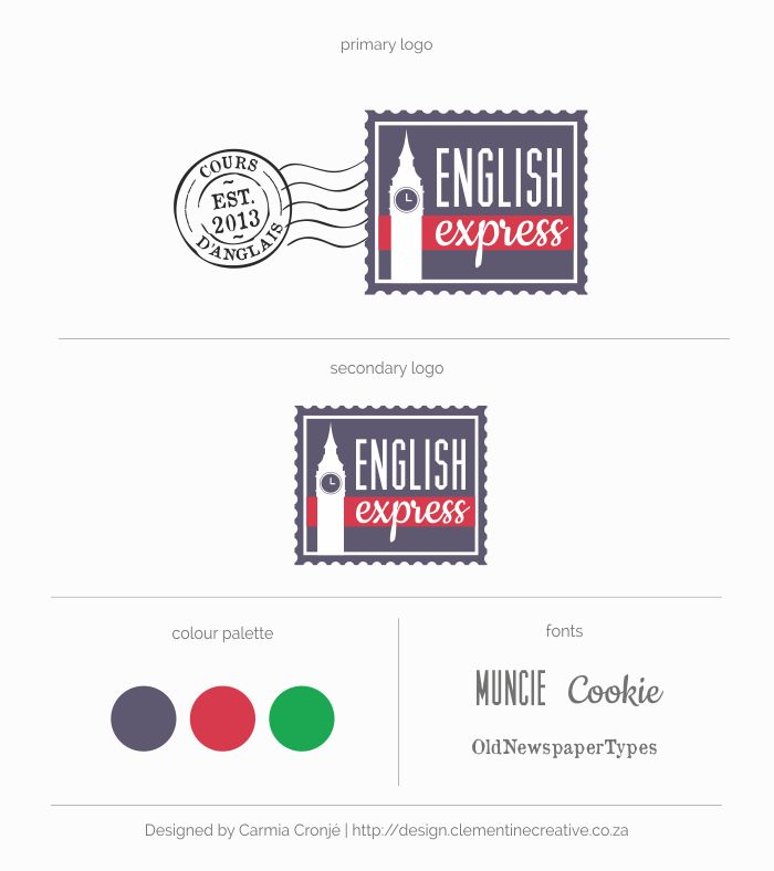 Postage stamp logo for English Express - English courses in France | Designed by Clementine Creative #creativelogo