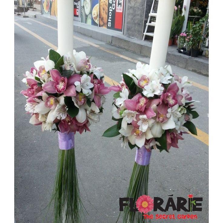 Lumanari de nunta din orhidee cymbidium si alstroemeria