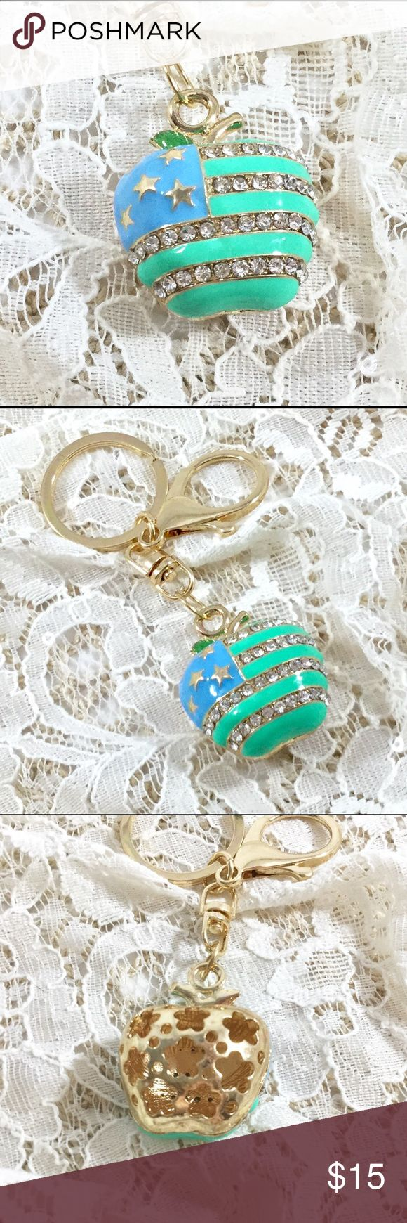 Green & Blue Apple USA Flag Key Ring Purse Charm Green enamel flag design with rhinestone stars and blue enamel corner with gold tone stars.  Great as a stocking stuffer or clip to a bow on a gift...too cute!!🌟🌟🌟🌟 Accessories Key & Card Holders