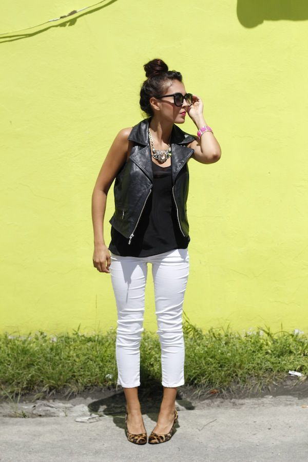 Leather vest, leopard wedges, matchstick white jeans
