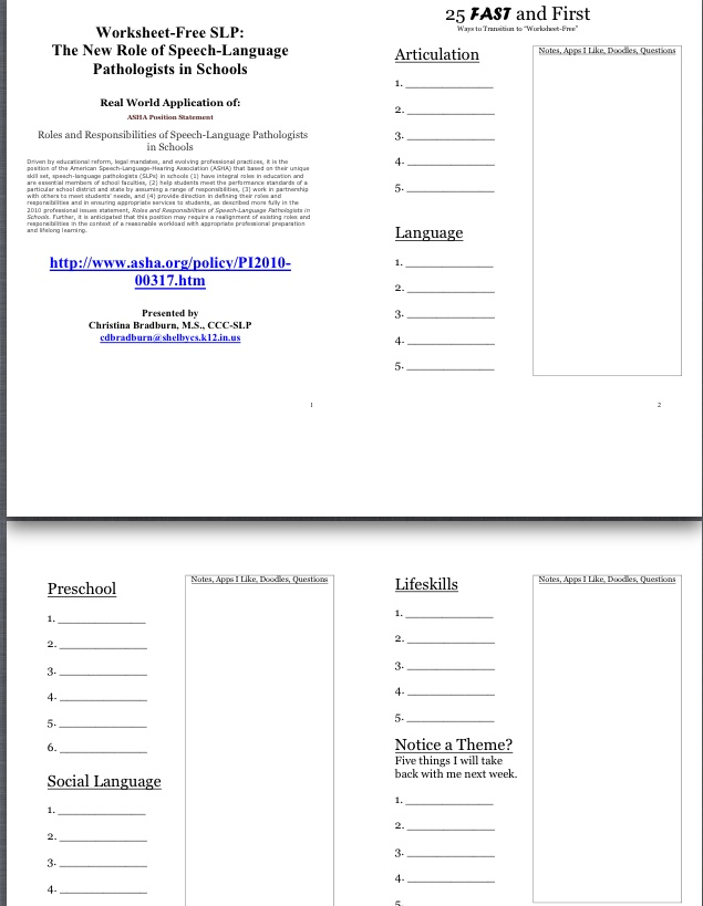 "Download handout -""Worksheet-Free SLP: The New Role of SLPs in Schools ..."