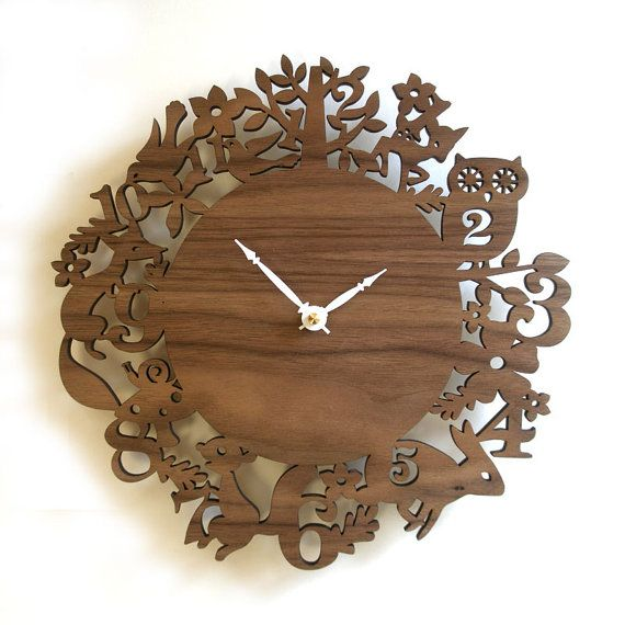 10 Modern Wall Clock  It's My Forest  Walnut by decoylab on Etsy: Free Ships, Animal Clocks, Forests Animal, Forests Walnut, 10 Modern, Modern Wall, Wall Clocks, Kids Rooms, Forests Clocks