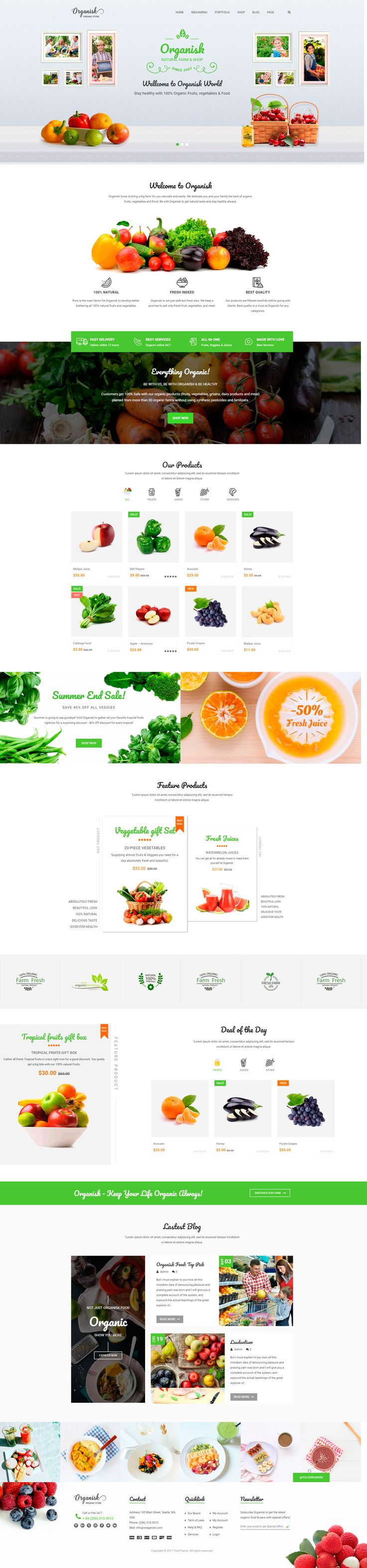 Organisk – Multipurpose #Organic #WooCommerce #Theme is perfectly designed for an online organic store with various types of organic products as organic food, vegetables, fruit, bakery and other organic products. #design #website #wordpress