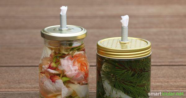 Wohligwarmes Kerzenlicht nachhaltig und preiswert einfach selbst gemacht. Aus einem Glas, etwas Stoff und Pflanzenöl bastelst du schnell eine geniale Öllampe