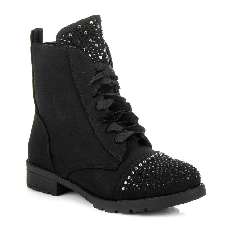 Čierne členkové topánky s kamienkami 6155-1B