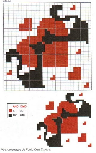 page full of cat cross stitch charts