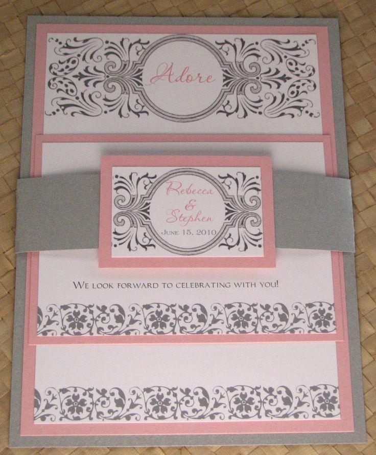 Damask Pink And Silver Wedding Invitation 3 75 Via Etsy