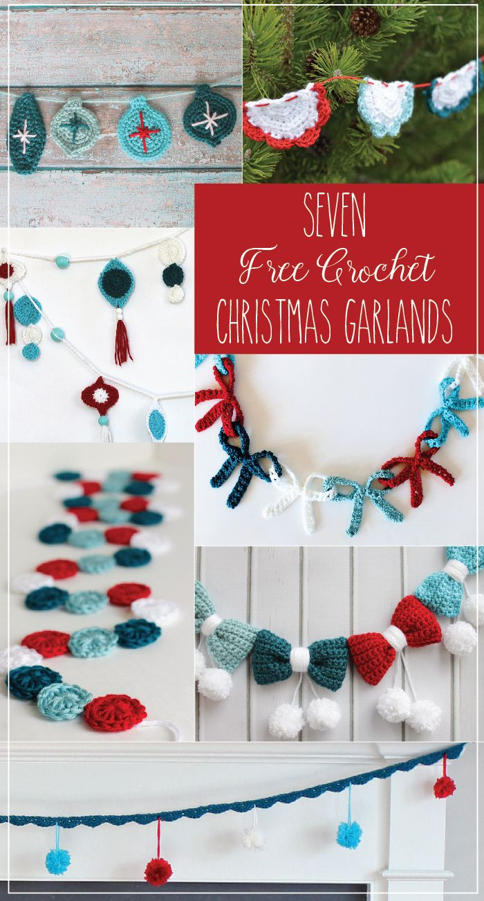 Seven Christmas Garlands - Free Crochet Patterns