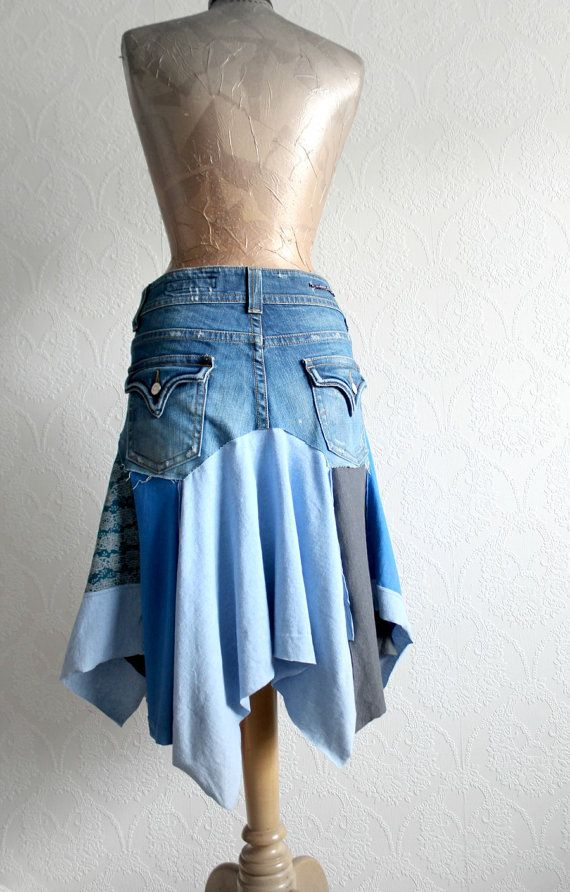 Hippie Chic Women's Jean Skirt Festival Clothing Lagenlook