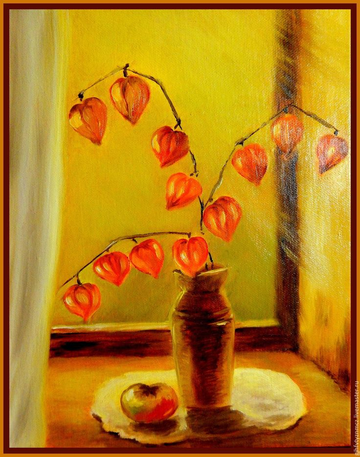 """Купить Картина цветы маслом""""Теплый физалис"""" - оранжевый, физалис в вазе, живопись маслом, цветы маслом"""