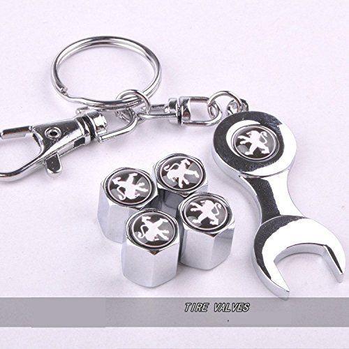 Lot de 4bouchons de valve de pneu de la poussière pour voiture avec clé Keying avec logo Peugeot en couleur noir: Remplacer les ennuyeux…