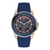 GUESS Multifunction Rose Gold Blue Rubber Strap W0485G1