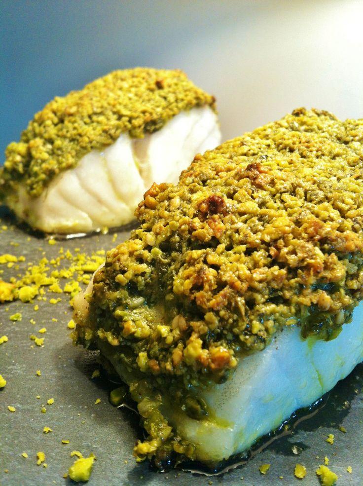 cabillaud croustillant au pesto de pistache repas - semaine - rapide