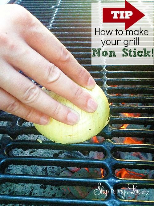 To make sure your food doesn't stick to your grill, rub half an onion on the grates. Your grill will be stick-proof and ready for some good BBQ.