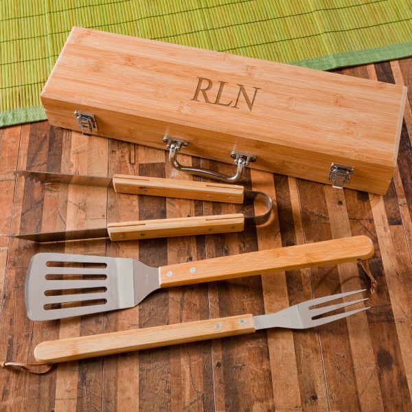 3pc. BBQ Grilling Set for Groomsmen Gifts. Bamboo case is engraved and contains a spatula, fork and tongs.