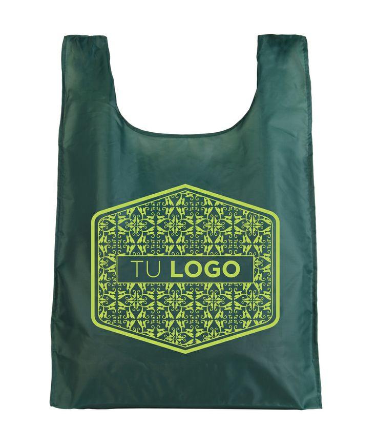 Bolsa plegable tipo nylon verde con diseño de Prismatika para Pak&Bag