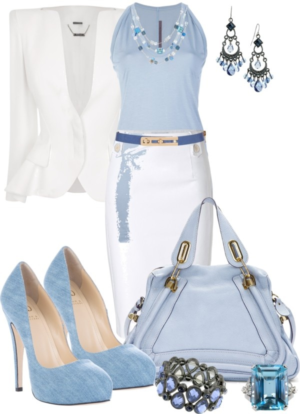 """Pale Blue & White Contest II"" by anna-campos ❤ liked on Polyvore"