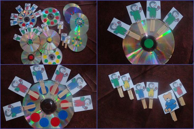 Tchoupi et pinces à linge - bonne idée : les CD remplacent les traditionnelles assiettes en carton !