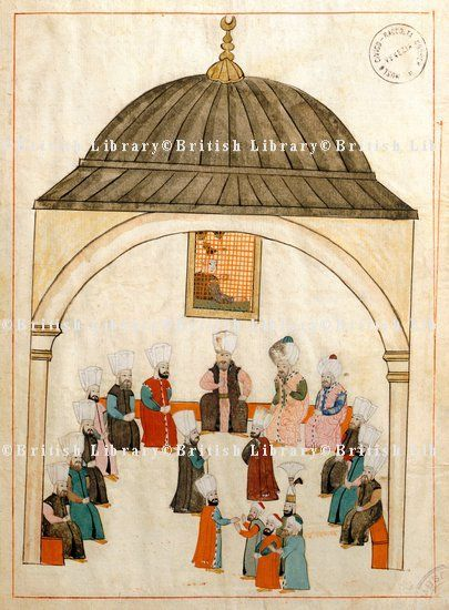 Topkapı Palace-Kubbealtı-The hall of the large sofa, where the court dignitaries used to meet, high up on the wall was a grate for spying and eavesdropping in the meetings below, miniature from Turkish Memories, Cicogna Codex, Turkey 17th Century