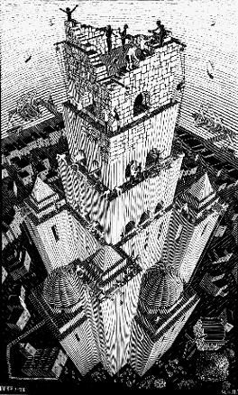 M.C. Escher -- la Torre de Babel - 1928 www.mcescher.com