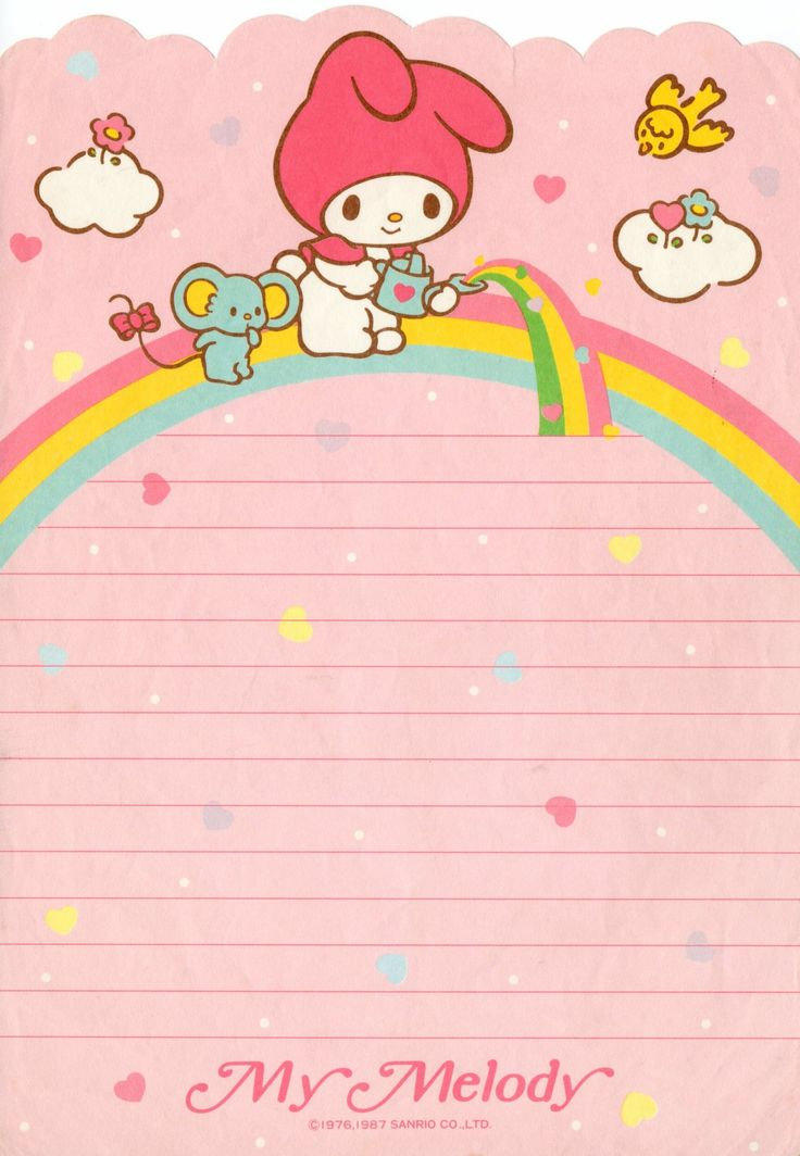 My Melody vintage stationery papel de carta