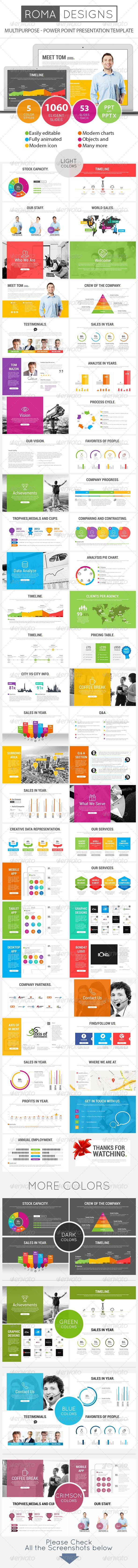 Roma - Power Point Presentation Template   http://graphicriver.net/item/roma-power-point-presentation-template/8228860?ref=damiamio       Roma – Multipurpose Power Point Presentation Template A creative, modern and slick presentation for multi-purpose corporate and Social Business Presentation. All slides are fully editable. Easy to change colors, text, photos etc. Perfect for businesses, corporate and personal use.  For any questions/queries or power point tips please send an email  Please…