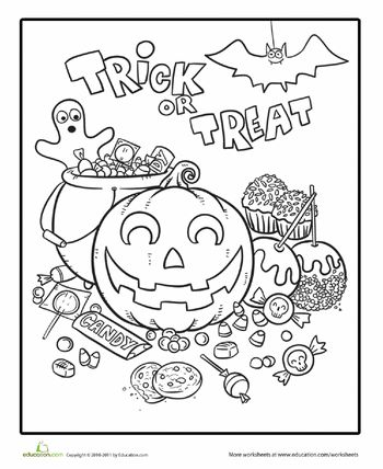 Worksheets: Halloween Candy Coloring Page trick or treat pumpkin