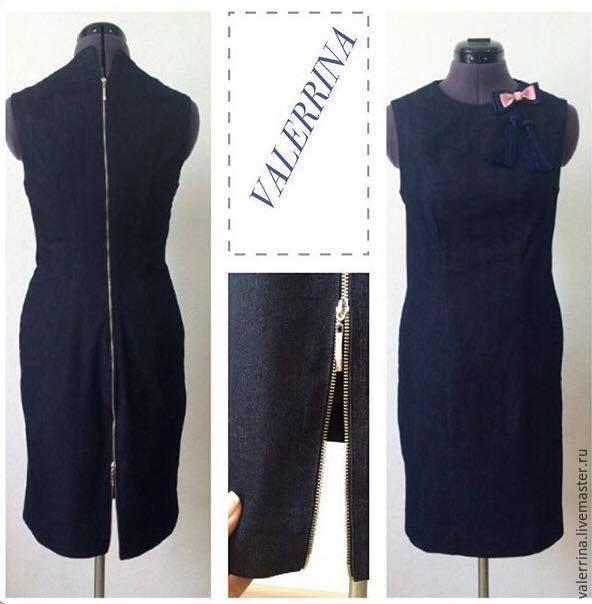 Купить Платье джинсовое на молнии - тёмно-синий, однотонный, платье на молнии, платье летнее