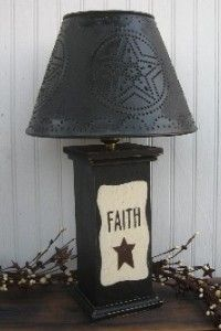 Primitive Lamps,Country Lamps,Punched Tin Lamp Shades,Rusty Star Lamps,Wooden Lamps,Primitive Lighting,Lamps with Stars,Handmade lamps,handcrafted lamps