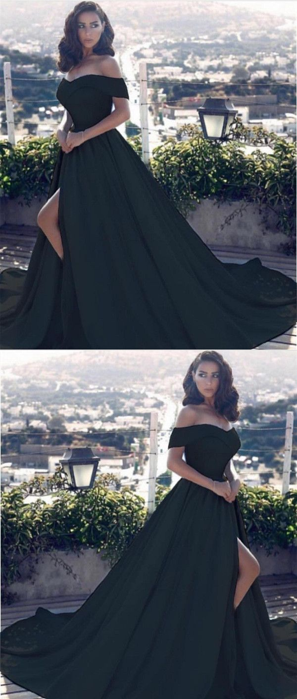 f1522d40d1c Black Satin Off The Shoulder Prom Dresses 2018 Long Evening Gowns With Leg  Slit