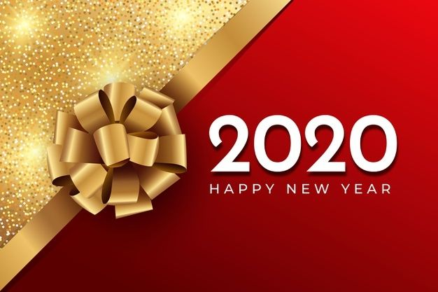 realistic funny new year background bow and glitter in