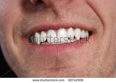 White teeth of young man