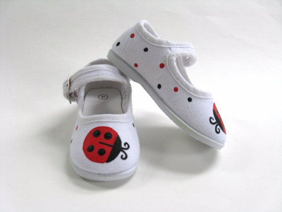 Girls Ladybug Shoes, Baby and Toddler, Hand Painted, Birthday Party