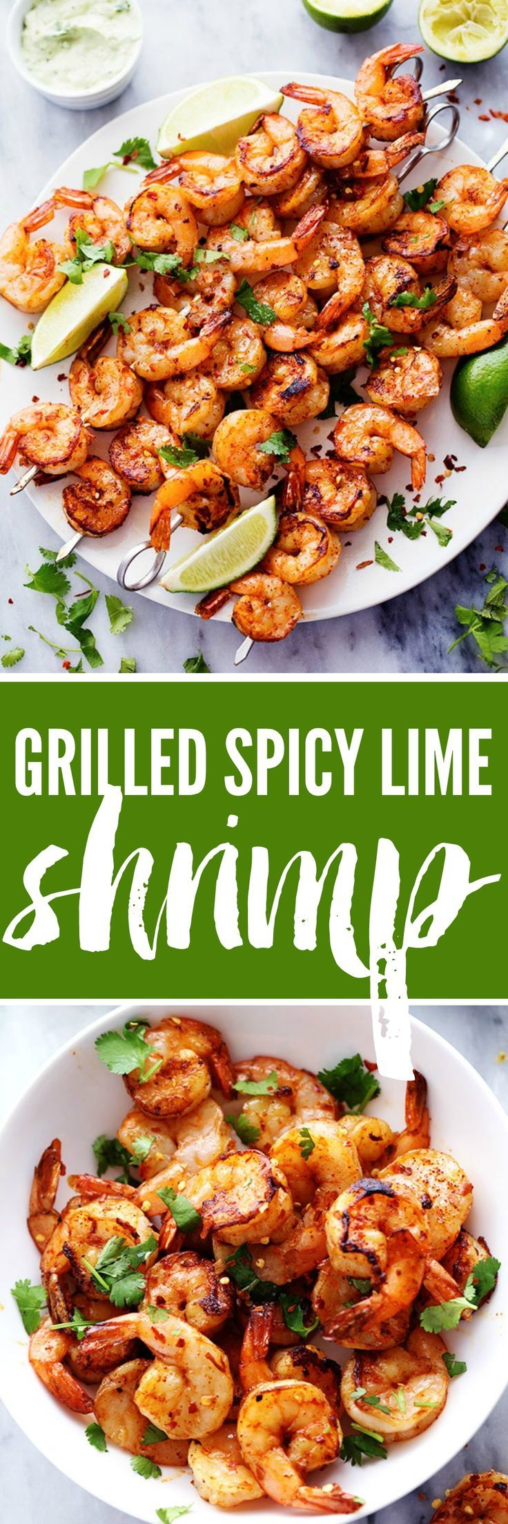 Grilled Spicy Lime Shrimp with Creamy Avocado Cilantro Sauce has a simple but full of flavor and spice marinade. The creamy avocado cilantro sauce is the perfect cool and creamy dipping sauce.